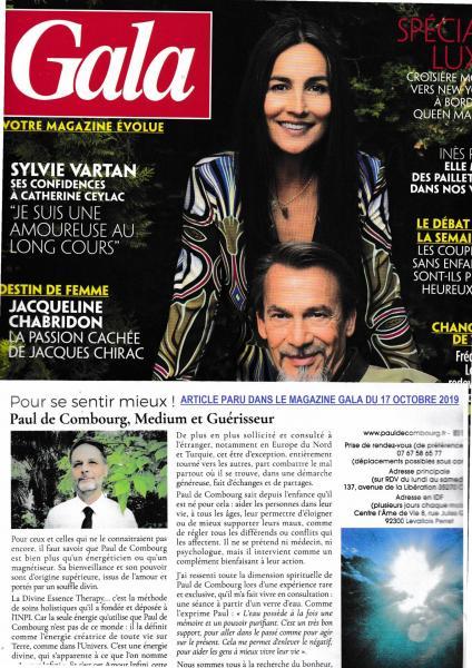 Parution dans le magazine gala 17 octobre 2019